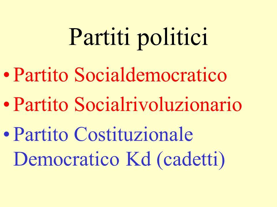 Partiti politici Partito Socialdemocratico Partito Socialrivoluzionario Partito Costituzionale Democratico Kd (cadetti)