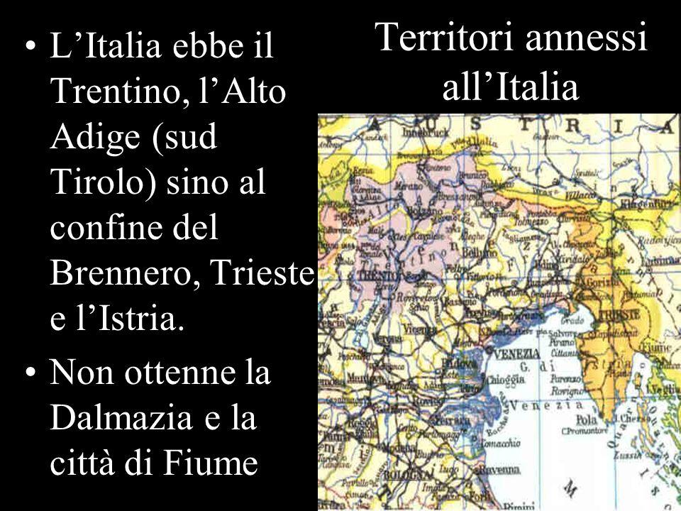 Territori annessi allItalia LItalia ebbe il Trentino, lAlto Adige (sud Tirolo) sino al confine del Brennero, Trieste e lIstria. Non ottenne la Dalmazi