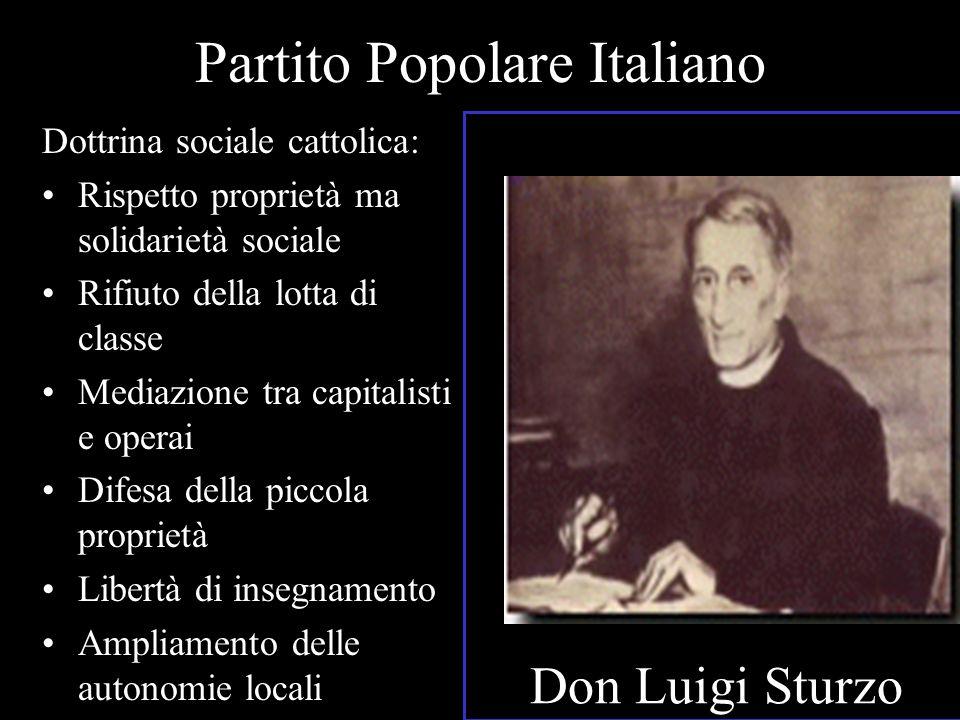 Partito Popolare Italiano Dottrina sociale cattolica: Rispetto proprietà ma solidarietà sociale Rifiuto della lotta di classe Mediazione tra capitalis