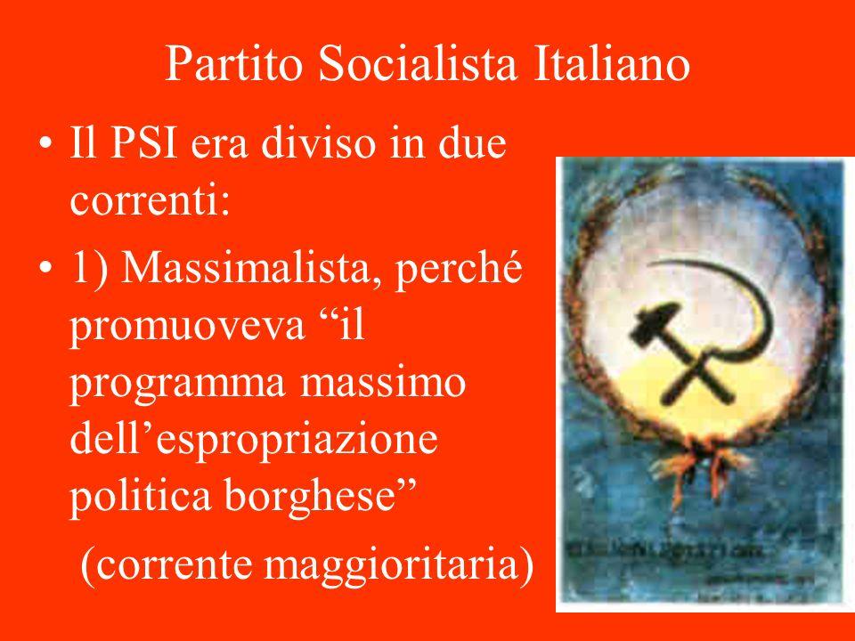 Partito Socialista Italiano Il PSI era diviso in due correnti: 1) Massimalista, perché promuoveva il programma massimo dellespropriazione politica bor