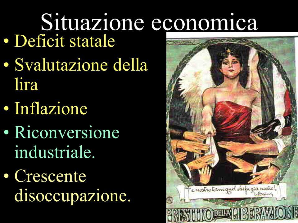 Situazione economica Deficit statale Svalutazione della lira Inflazione Riconversione industriale. Crescente disoccupazione.