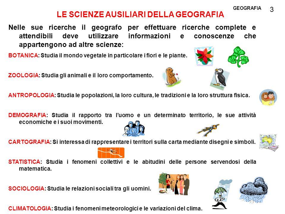 GEOGRAFIA LE SCIENZE AUSILIARI DELLA GEOGRAFIA Nelle sue ricerche il geografo per effettuare ricerche complete e attendibili deve utilizzare informazi