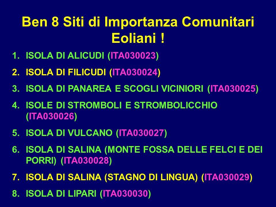Ben 8 Siti di Importanza Comunitari Eoliani ! 1.ISOLA DI ALICUDI (ITA030023) 2.ISOLA DI FILICUDI (ITA030024) 3.ISOLA DI PANAREA E SCOGLI VICINIORI (IT