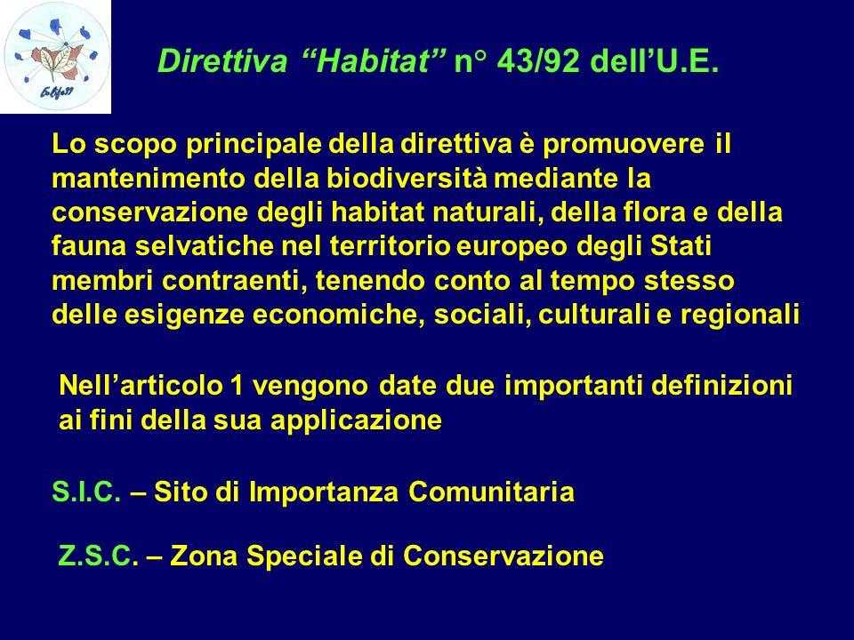 Direttiva Habitat n° 43/92 dellU.E. Lo scopo principale della direttiva è promuovere il mantenimento della biodiversità mediante la conservazione degl