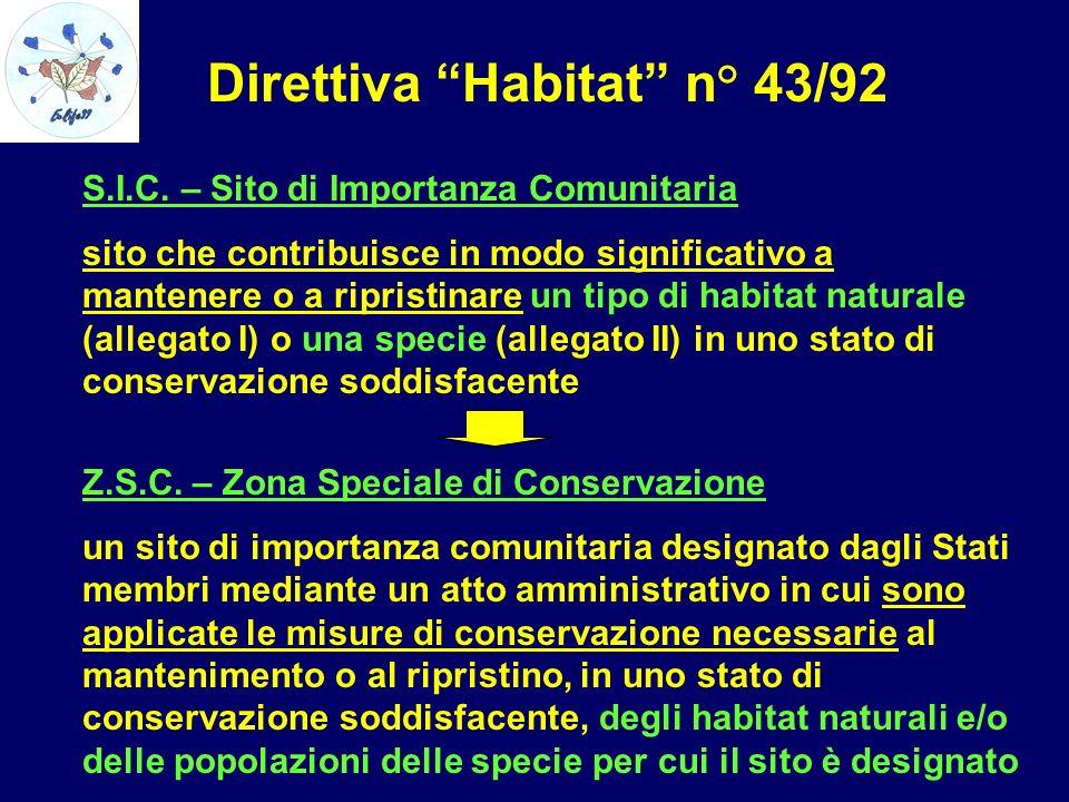 S.I.C. – Sito di Importanza Comunitaria sito che contribuisce in modo significativo a mantenere o a ripristinare un tipo di habitat naturale (allegato