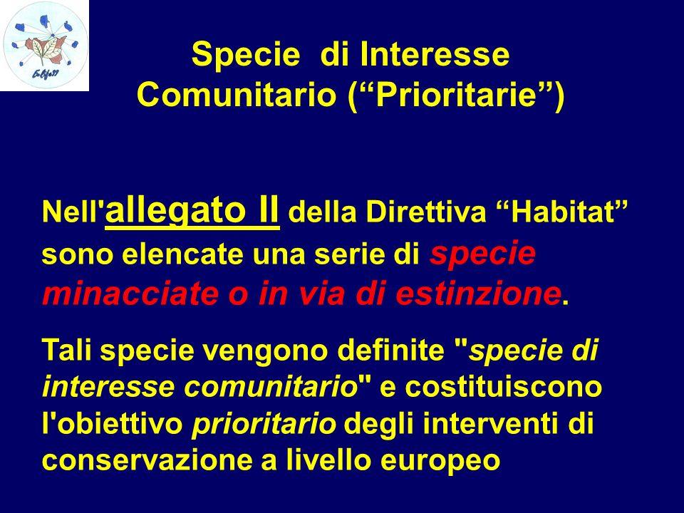 Specie di Interesse Comunitario (Prioritarie) Nell' allegato II della Direttiva Habitat sono elencate una serie di specie minacciate o in via di estin