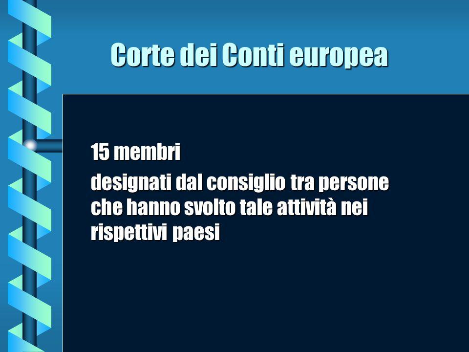 Corte dei Conti europea 15 membri designati dal consiglio tra persone che hanno svolto tale attività nei rispettivi paesi