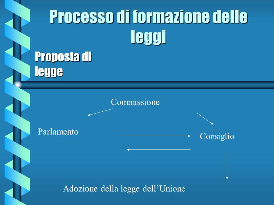 Processo di formazione delle leggi Proposta di legge Commissione Parlamento Consiglio Adozione della legge dellUnione