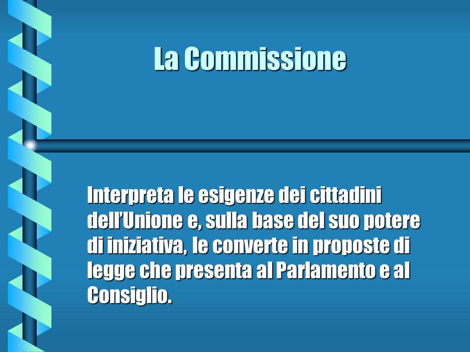 La Commissione Interpreta le esigenze dei cittadini dellUnione e, sulla base del suo potere di iniziativa, le converte in proposte di legge che presen