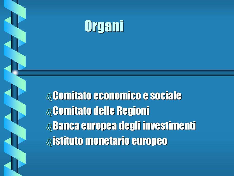Organi b Comitato b Comitato economico e sociale delle Regioni b Banca b Banca europea degli investimenti b istituto b istituto monetario europeo