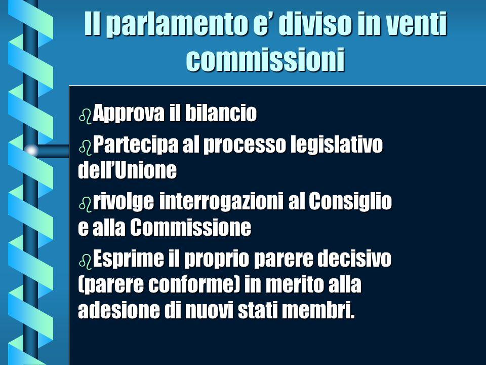 Il parlamento e diviso in venti commissioni b Approva b Approva il bilancio b Partecipa b Partecipa al processo legislativo dellUnione b rivolge b riv