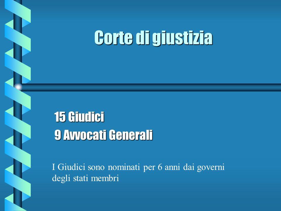 Corte di giustizia 15 Giudici 9 Avvocati Generali I Giudici sono nominati per 6 anni dai governi degli stati membri