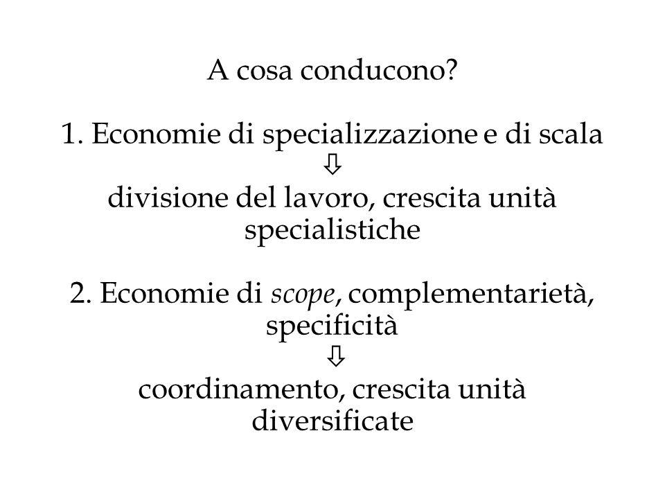 A cosa conducono? 1. Economie di specializzazione e di scala divisione del lavoro, crescita unità specialistiche 2. Economie di scope, complementariet