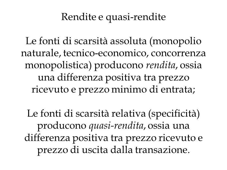 Rendite e quasi-rendite Le fonti di scarsità assoluta (monopolio naturale, tecnico-economico, concorrenza monopolistica) producono rendita, ossia una