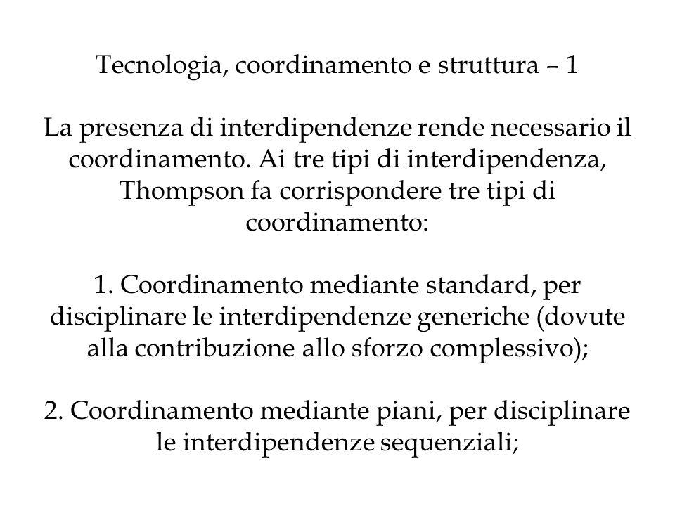 Tecnologia, coordinamento e struttura – 1 La presenza di interdipendenze rende necessario il coordinamento. Ai tre tipi di interdipendenza, Thompson f