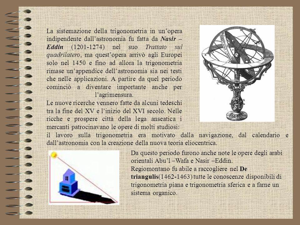 La sistemazione della trigonometria in unopera indipendente dallastronomia fu fatta da Nasir – Eddin (1201-1274) nel suo Trattato sul quadrilatero, ma