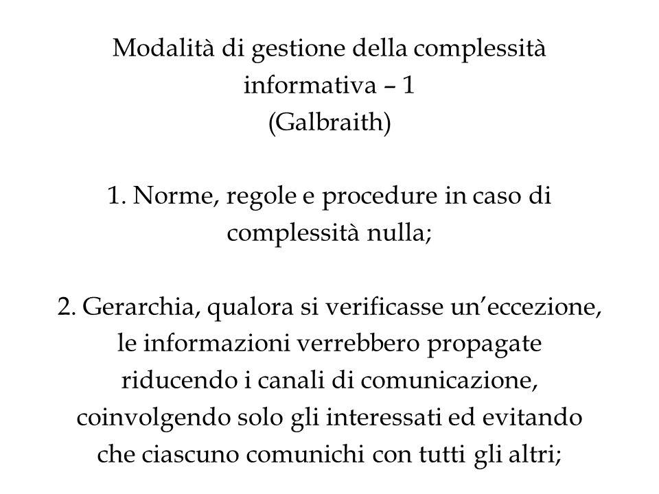 Modalità di gestione della complessità informativa – 1 (Galbraith) 1. Norme, regole e procedure in caso di complessità nulla; 2. Gerarchia, qualora si