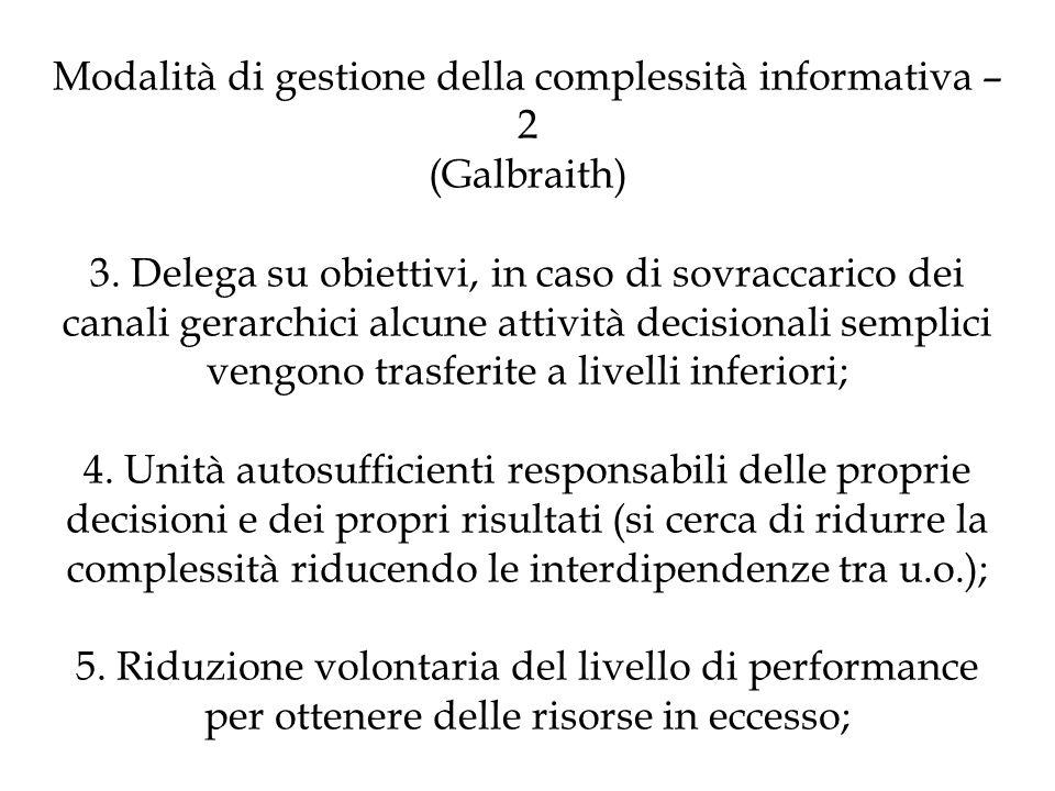 Modalità di gestione della complessità informativa – 2 (Galbraith) 3. Delega su obiettivi, in caso di sovraccarico dei canali gerarchici alcune attivi