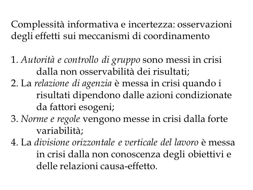 Complessità informativa e incertezza: osservazioni degli effetti sui meccanismi di coordinamento 1. Autorità e controllo di gruppo sono messi in crisi