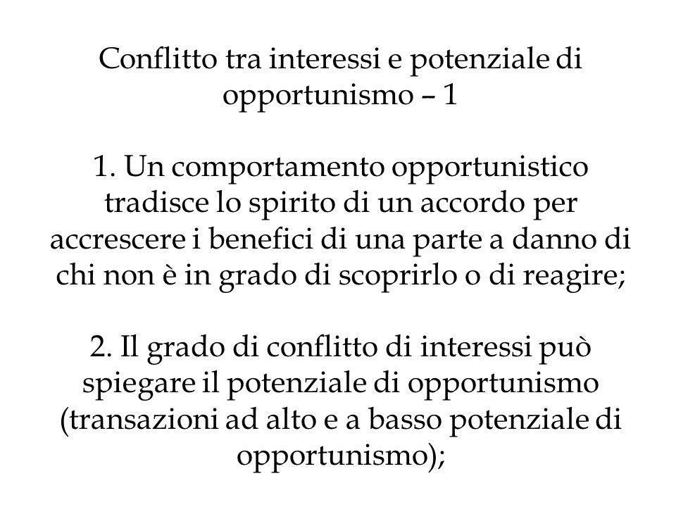 Conflitto tra interessi e potenziale di opportunismo – 1 1. Un comportamento opportunistico tradisce lo spirito di un accordo per accrescere i benefic