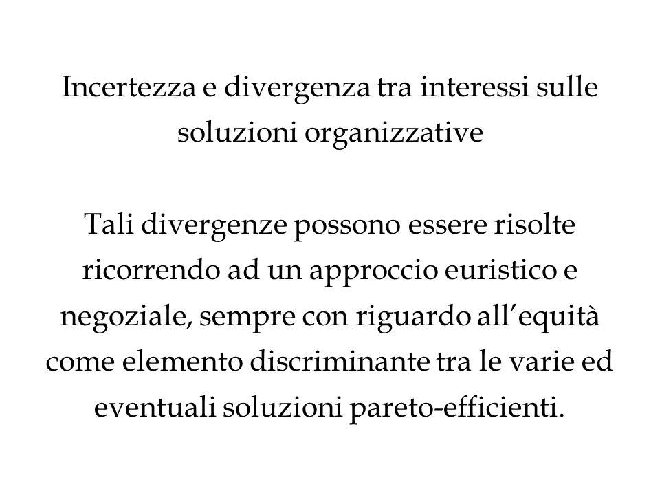Incertezza e divergenza tra interessi sulle soluzioni organizzative Tali divergenze possono essere risolte ricorrendo ad un approccio euristico e nego