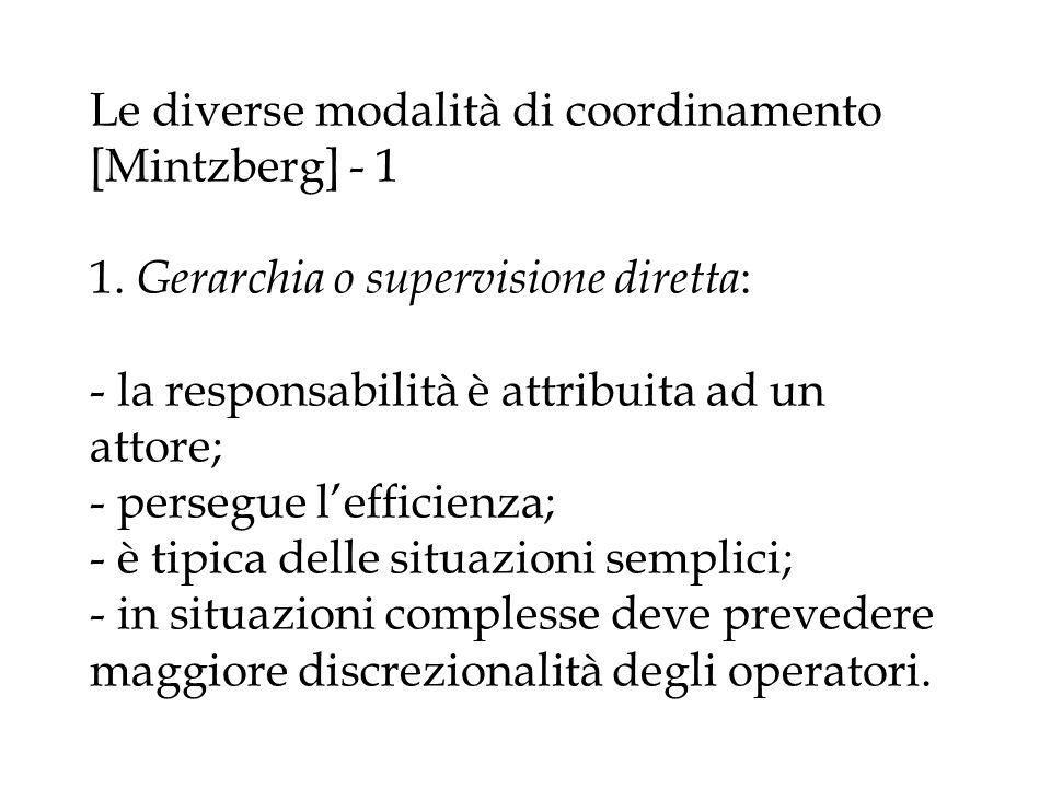Le diverse modalità di coordinamento [Mintzberg] - 1 1. Gerarchia o supervisione diretta : - la responsabilità è attribuita ad un attore; - persegue l
