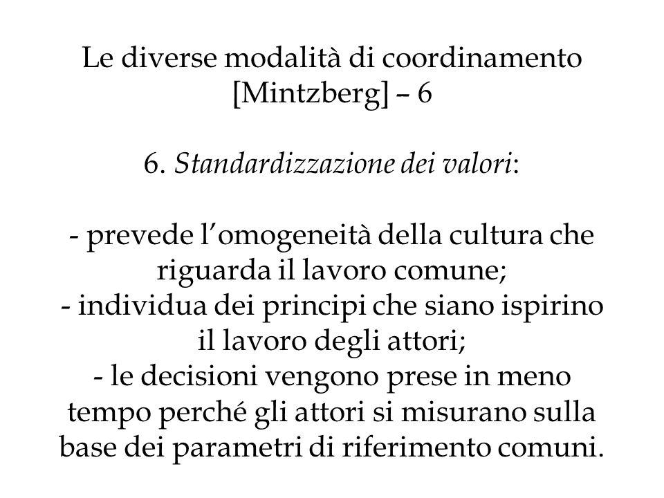 Le diverse modalità di coordinamento [Mintzberg] – 6 6. Standardizzazione dei valori : - prevede lomogeneità della cultura che riguarda il lavoro comu