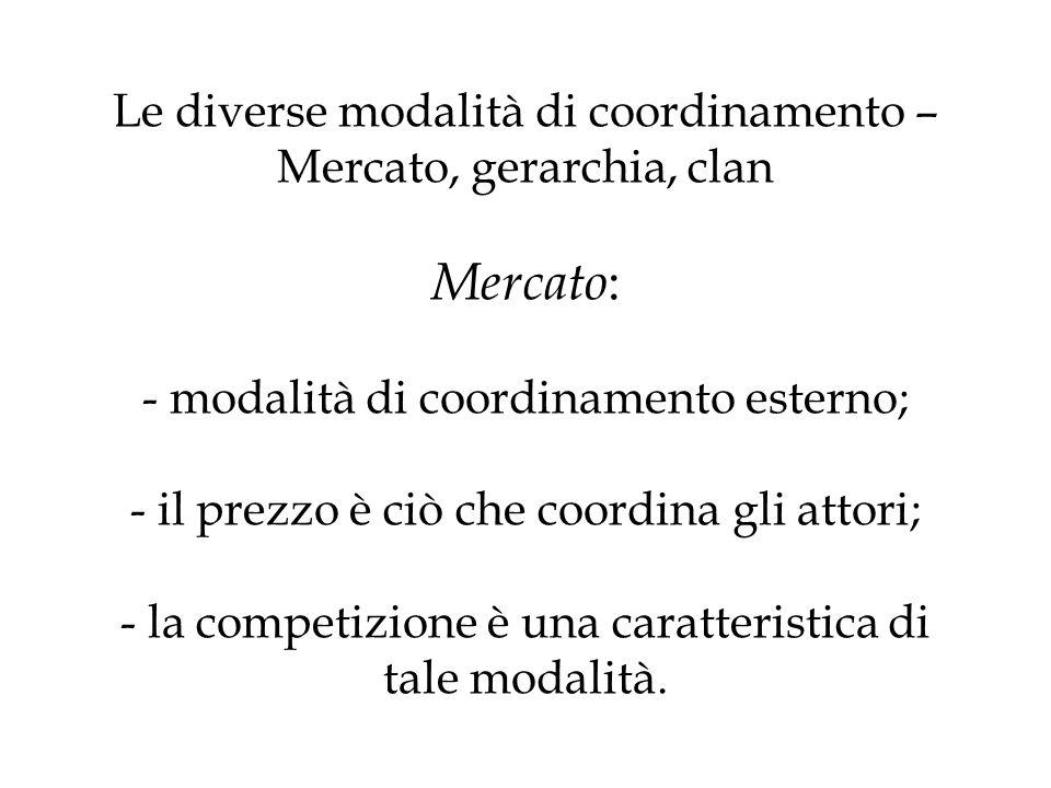 Le diverse modalità di coordinamento – Mercato, gerarchia, clan Mercato : - modalità di coordinamento esterno; - il prezzo è ciò che coordina gli atto