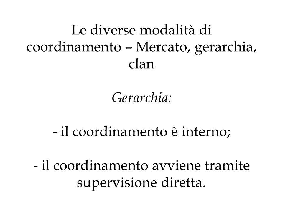 Le diverse modalità di coordinamento – Mercato, gerarchia, clan Gerarchia: - il coordinamento è interno; - il coordinamento avviene tramite supervisio