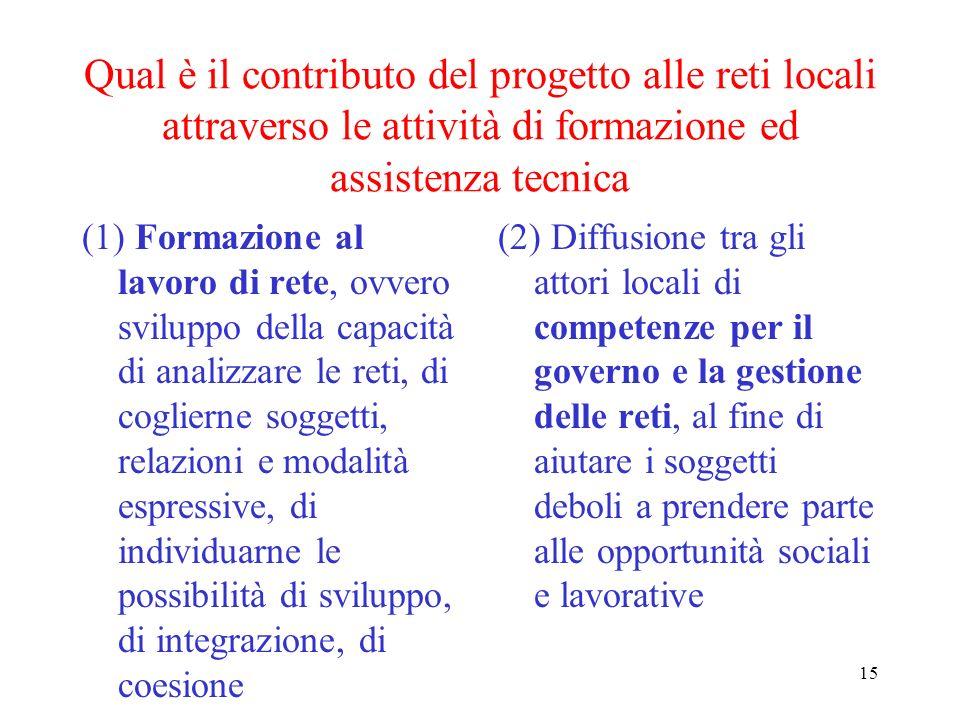 15 Qual è il contributo del progetto alle reti locali attraverso le attività di formazione ed assistenza tecnica (1) Formazione al lavoro di rete, ovv