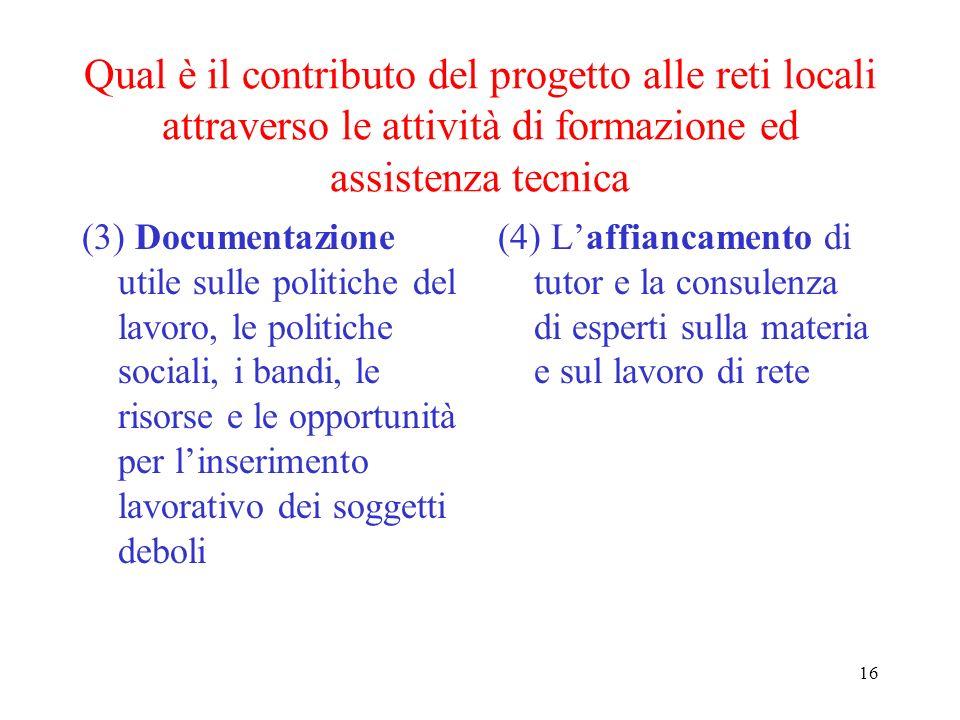 16 Qual è il contributo del progetto alle reti locali attraverso le attività di formazione ed assistenza tecnica (3) Documentazione utile sulle politi