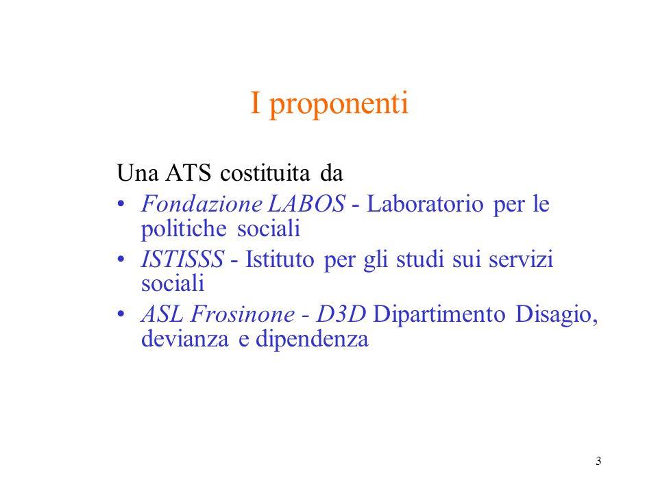 3 I proponenti Una ATS costituita da Fondazione LABOS - Laboratorio per le politiche sociali ISTISSS - Istituto per gli studi sui servizi sociali ASL Frosinone - D3D Dipartimento Disagio, devianza e dipendenza