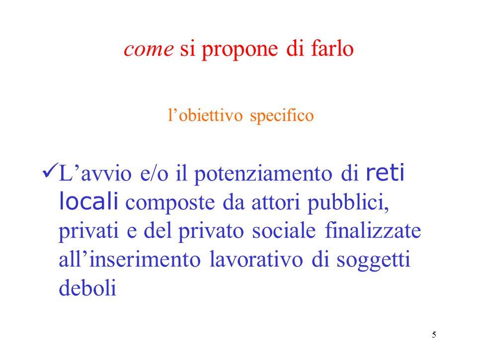 5 come si propone di farlo lobiettivo specifico Lavvio e/o il potenziamento di reti locali composte da attori pubblici, privati e del privato sociale