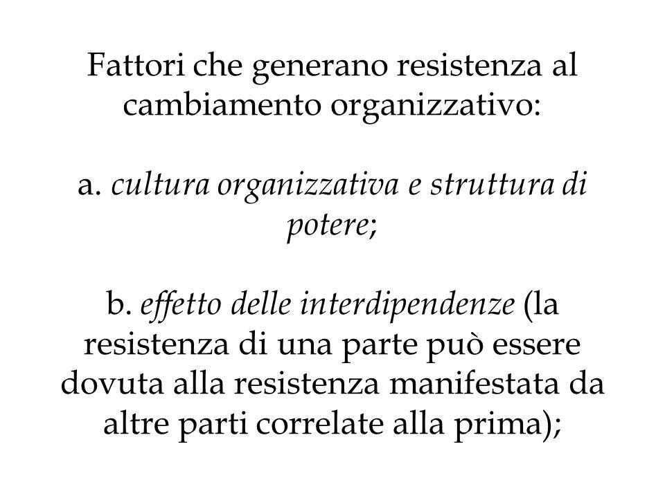 Fattori che generano resistenza al cambiamento organizzativo: a. cultura organizzativa e struttura di potere ; b. effetto delle interdipendenze (la re