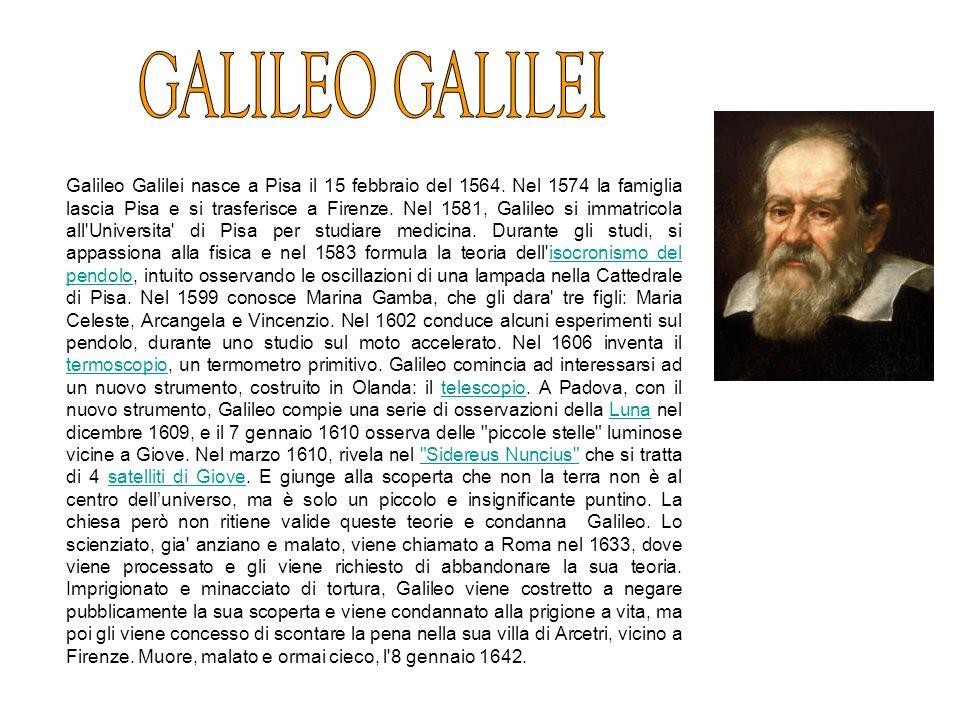 Galileo Galilei nasce a Pisa il 15 febbraio del 1564, dal fiorentino Vincenzo Galilei e da Giulia degli Ammannati. Nel 1574 la famiglia lascia Pisa e