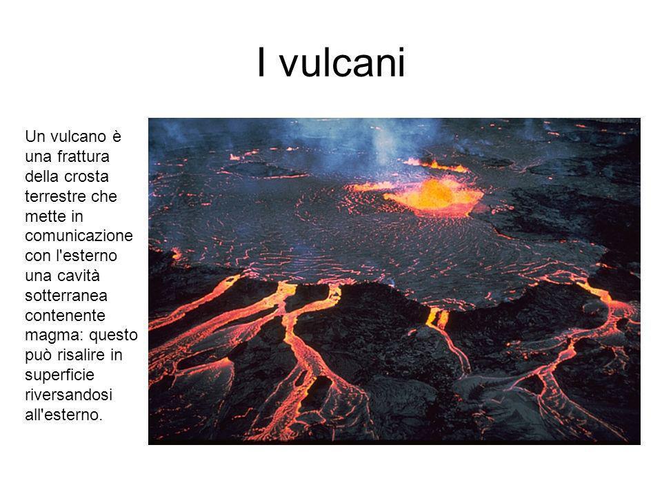 I vulcani Un vulcano è una frattura della crosta terrestre che mette in comunicazione con l esterno una cavità sotterranea contenente magma: questo può risalire in superficie riversandosi all esterno.