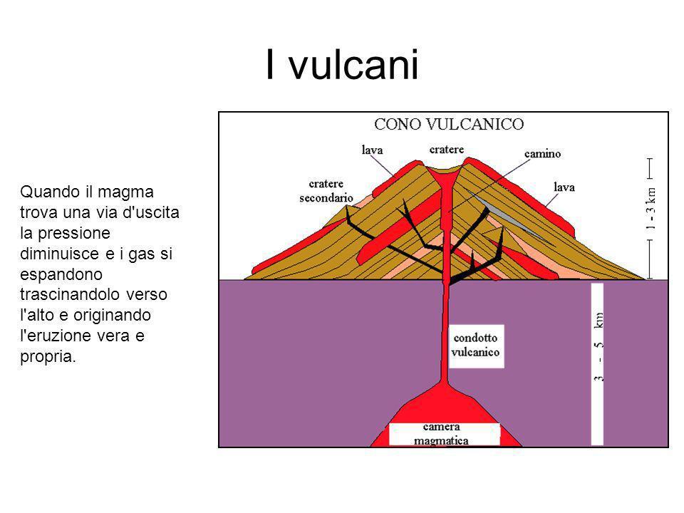 I vulcani Gas e vapori contenuti nel magma premono sulle rocce; quando la pressione del magma supera quella delle rocce sovrastanti, esso fuoriesce attraverso un condotto, il camino vulcanico, che mette in comunicazione la bocca o cratere del vulcano con la camera magmatica.