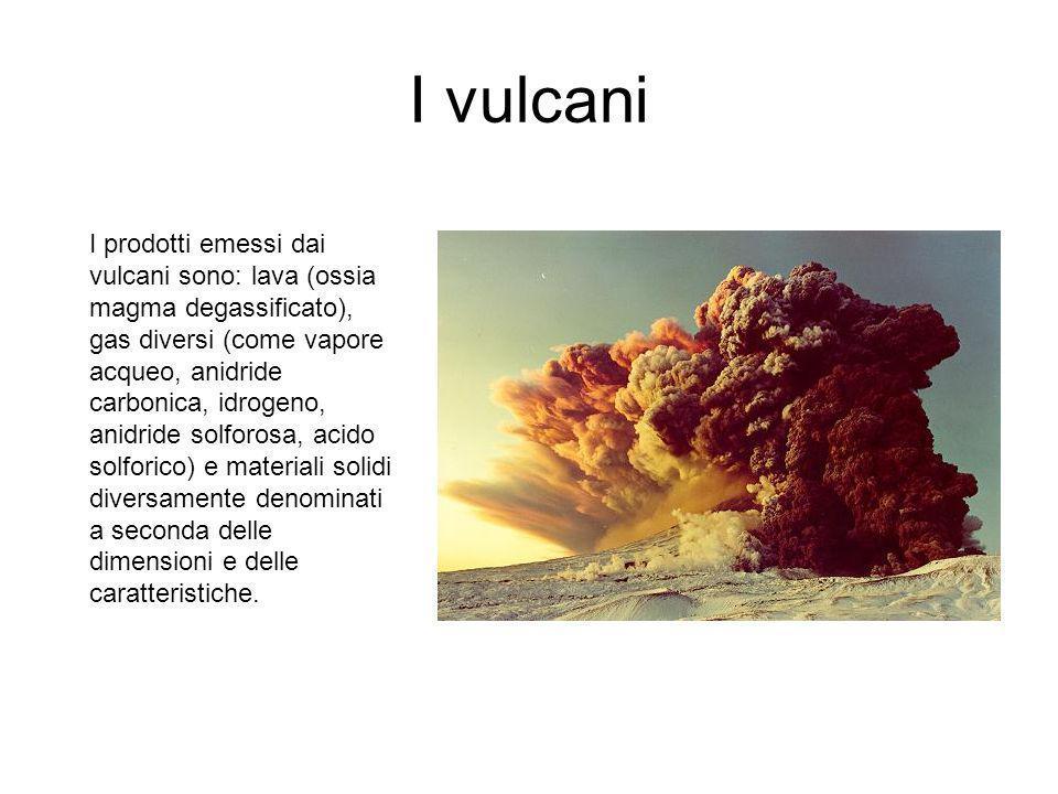 I vulcani I prodotti emessi dai vulcani sono: lava (ossia magma degassificato), gas diversi (come vapore acqueo, anidride carbonica, idrogeno, anidride solforosa, acido solforico) e materiali solidi diversamente denominati a seconda delle dimensioni e delle caratteristiche.