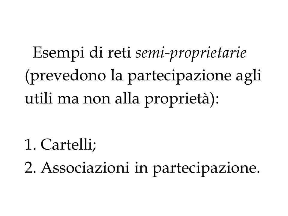 Esempi di reti semi-proprietarie (prevedono la partecipazione agli utili ma non alla proprietà): 1. Cartelli; 2. Associazioni in partecipazione.