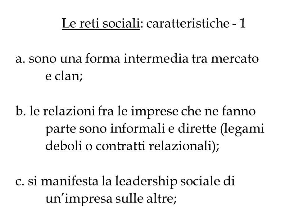 Le reti sociali: caratteristiche - 1 a. sono una forma intermedia tra mercato e clan; b. le relazioni fra le imprese che ne fanno parte sono informali