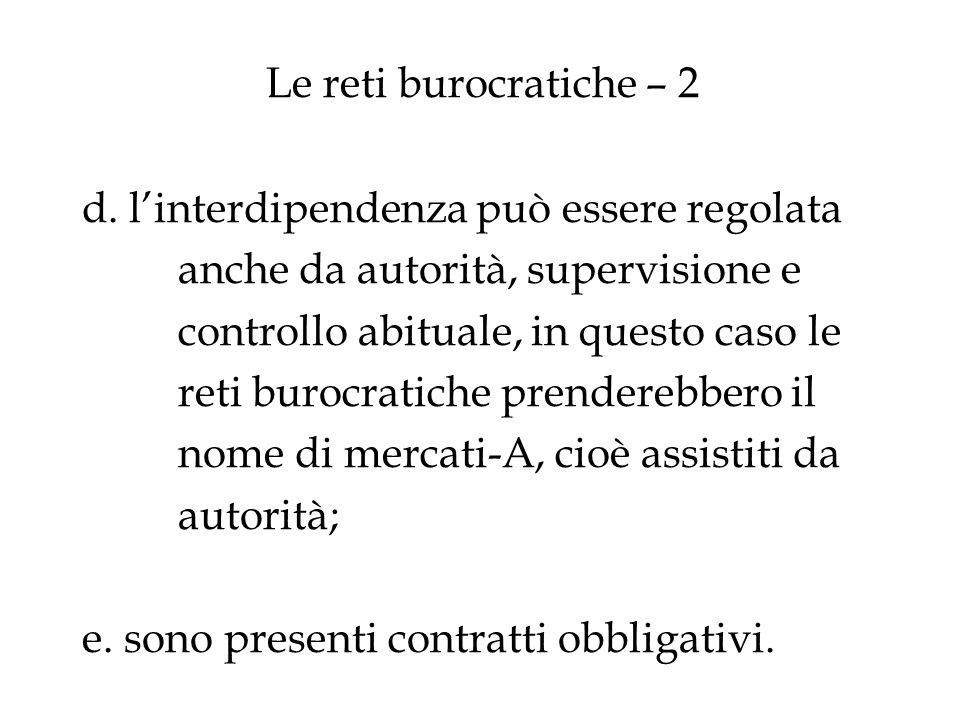 Le reti burocratiche – 2 d. linterdipendenza può essere regolata anche da autorità, supervisione e controllo abituale, in questo caso le reti burocrat
