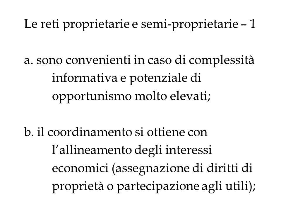 Le reti proprietarie e semi-proprietarie – 1 a. sono convenienti in caso di complessità informativa e potenziale di opportunismo molto elevati; b. il