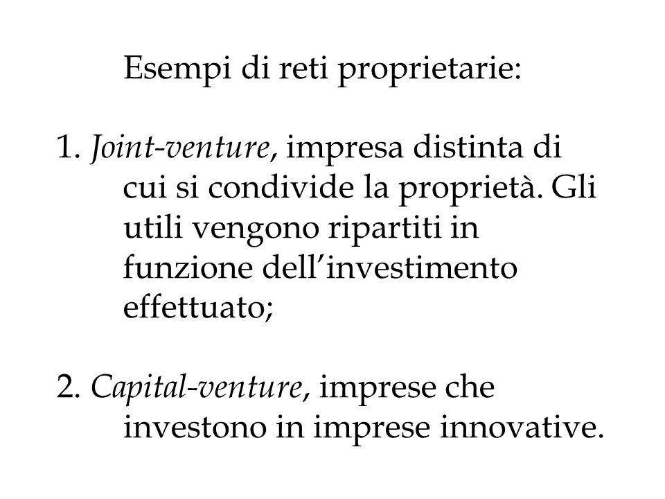 Esempi di reti proprietarie: 1. Joint-venture, impresa distinta di cui si condivide la proprietà. Gli utili vengono ripartiti in funzione dellinvestim