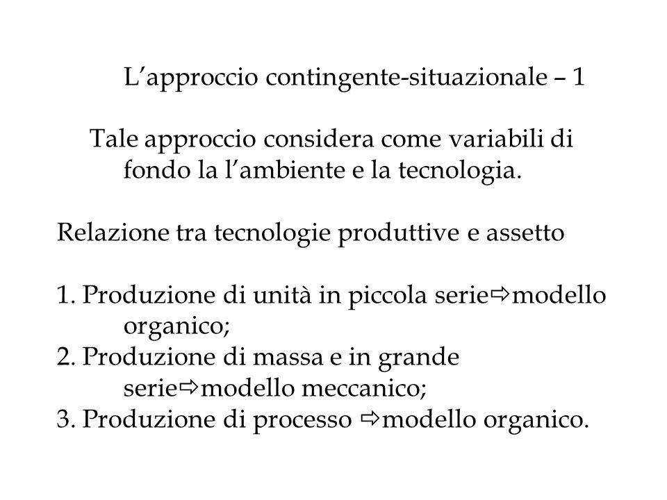 Lapproccio contingente-situazionale – 1 Tale approccio considera come variabili di fondo la lambiente e la tecnologia. Relazione tra tecnologie produt