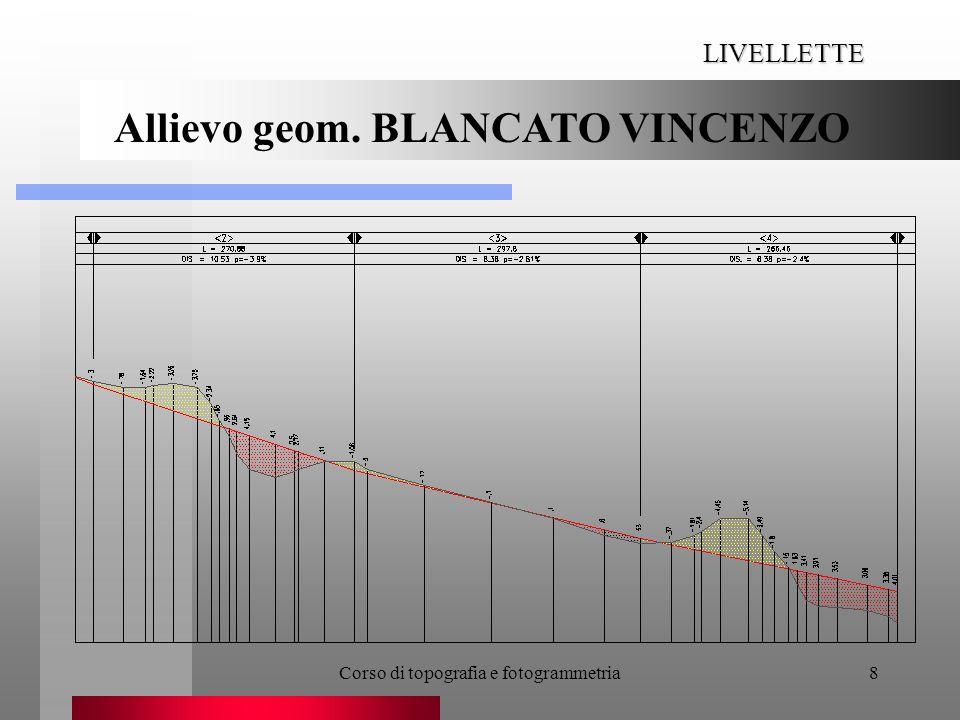 Corso di topografia e fotogrammetria19 DIAGRAMMA DI BRUCKNER Allievo geom. BLANCATO VINCENZO