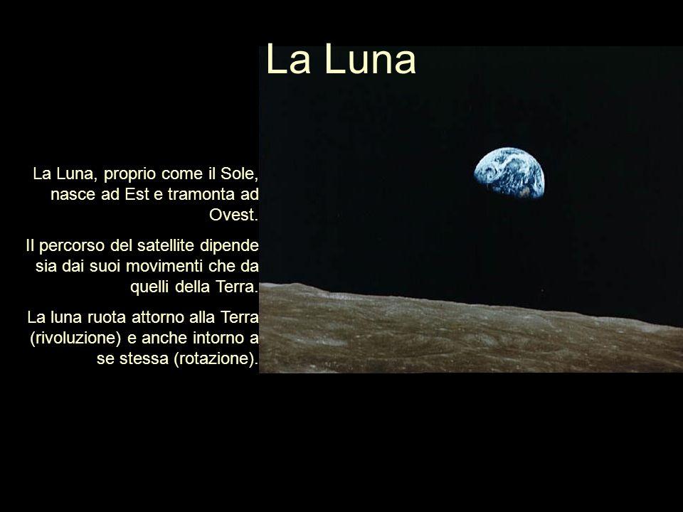 La Luna Durante il moto di rivoluzione, la Luna percorre unorbita ellittica e si muove da Ovest ad Est in un periodo di circa 29 giorni, detto mese lunare.
