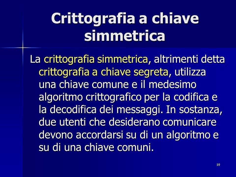 10 Crittografia a chiave simmetrica La crittografia simmetrica, altrimenti detta crittografia a chiave segreta, utilizza una chiave comune e il medesi