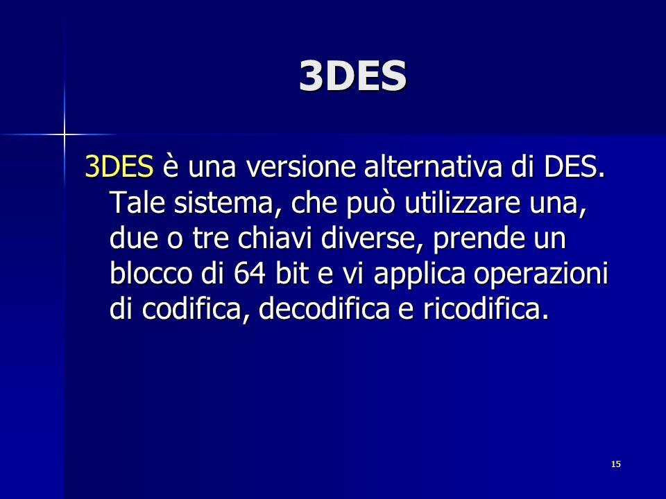 15 3DES 3DES è una versione alternativa di DES. Tale sistema, che può utilizzare una, due o tre chiavi diverse, prende un blocco di 64 bit e vi applic