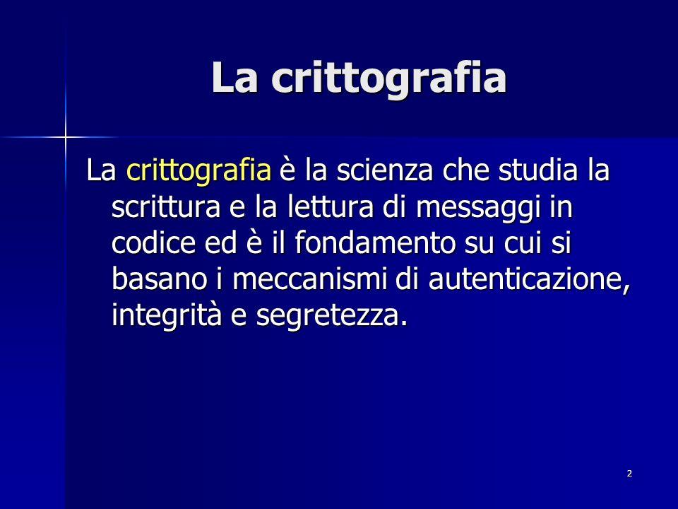 2 La crittografia La crittografia è la scienza che studia la scrittura e la lettura di messaggi in codice ed è il fondamento su cui si basano i meccan