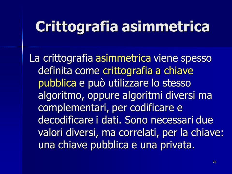 20 Crittografia asimmetrica La crittografia asimmetrica viene spesso definita come crittografia a chiave pubblica e può utilizzare lo stesso algoritmo